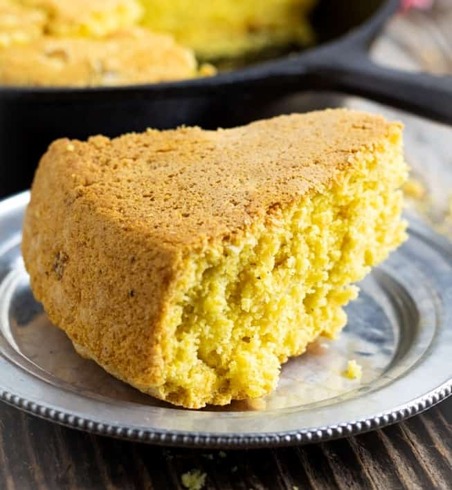 vegan cornbread on silver plate