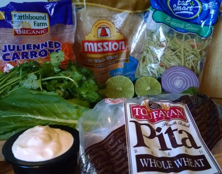 veggie wrap ideas. ingredients