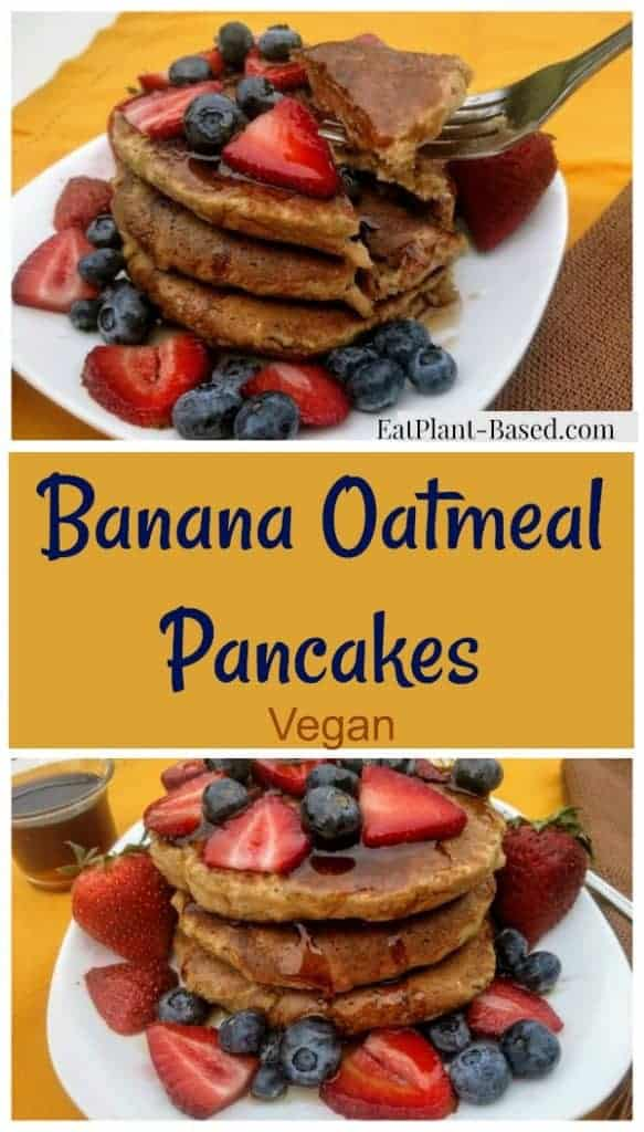 banana oat pancakes photo collage for pinterest