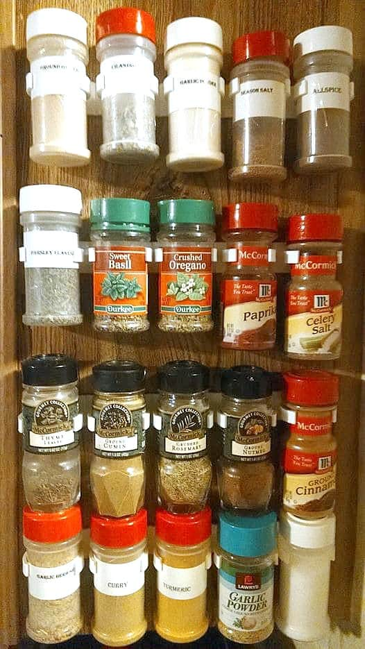 spice jars hanging on wall