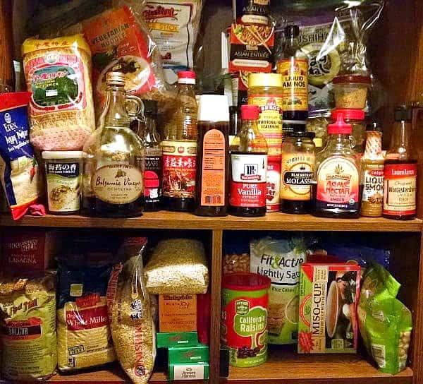 Plant-based diet cabinet full of sauces and seasonings