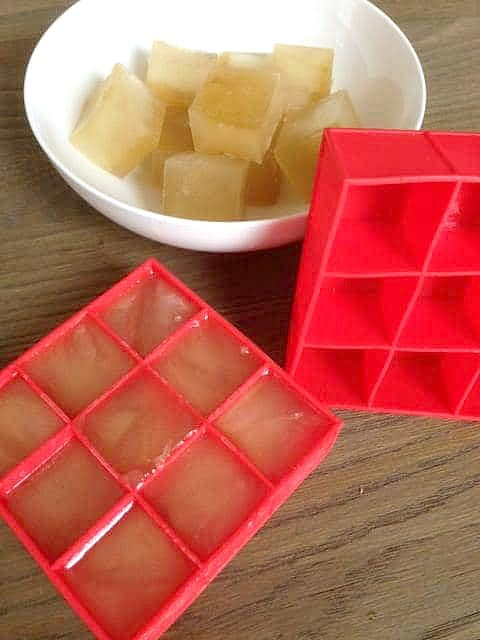 homemade veggie broth in ice trays