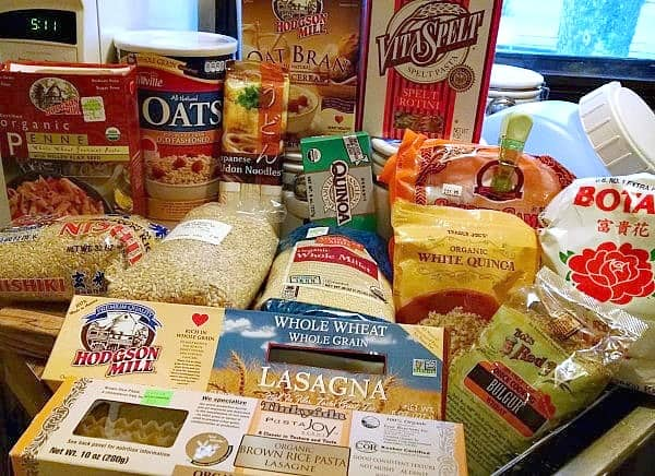 whole grains and pastas on counter top