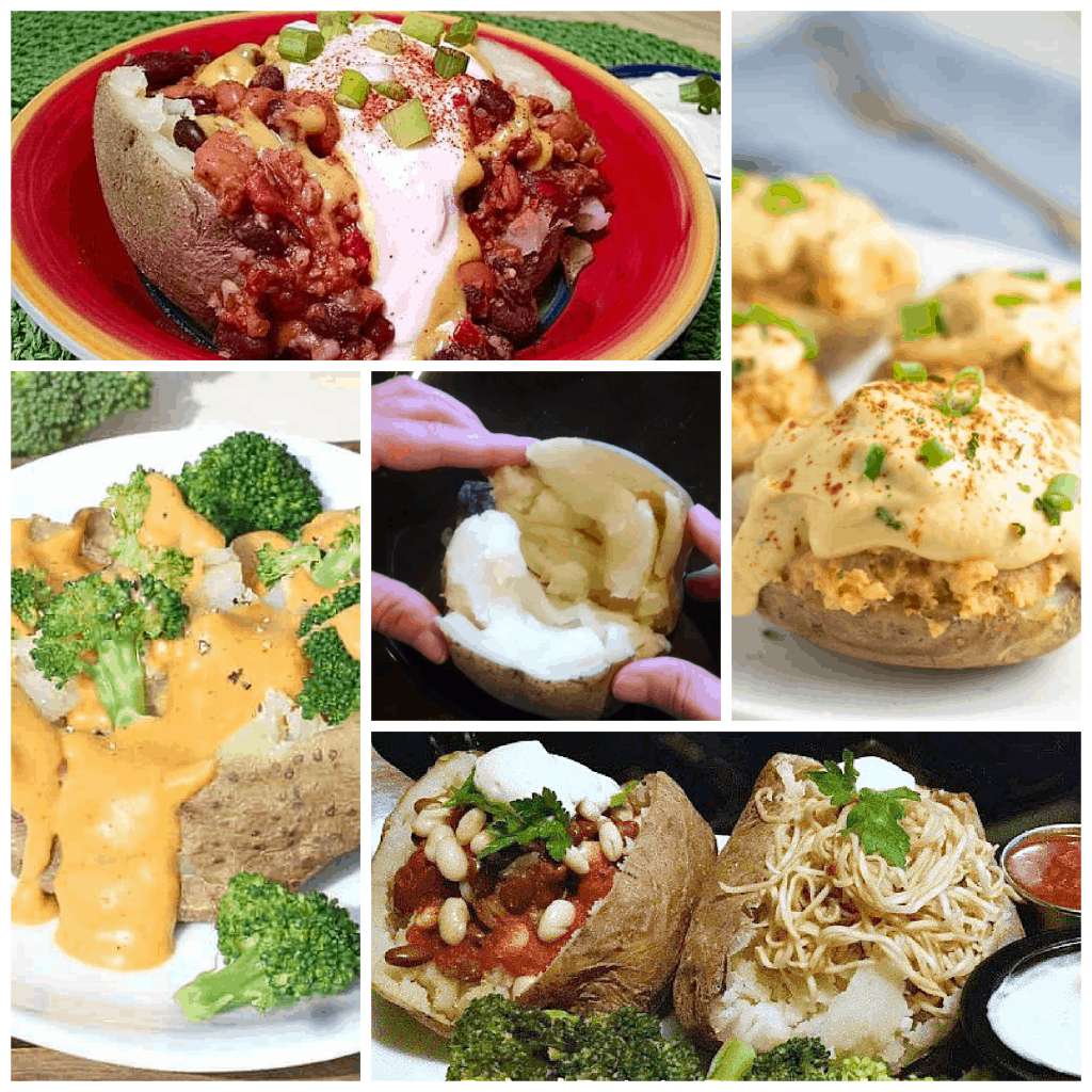 photo collage of vegan baked potato toppings