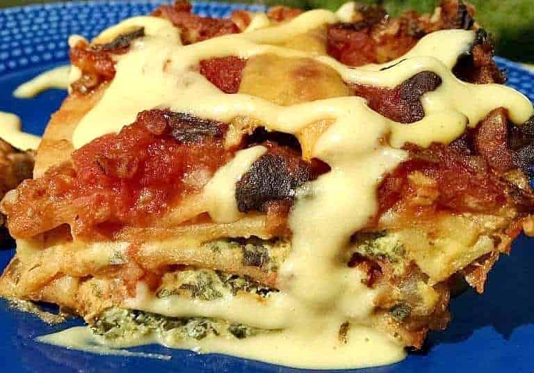 Spinach Black Bean Lasagna made with red bulgur