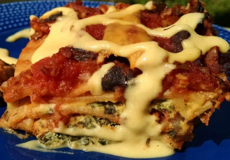 vegan lasagna on blue plate