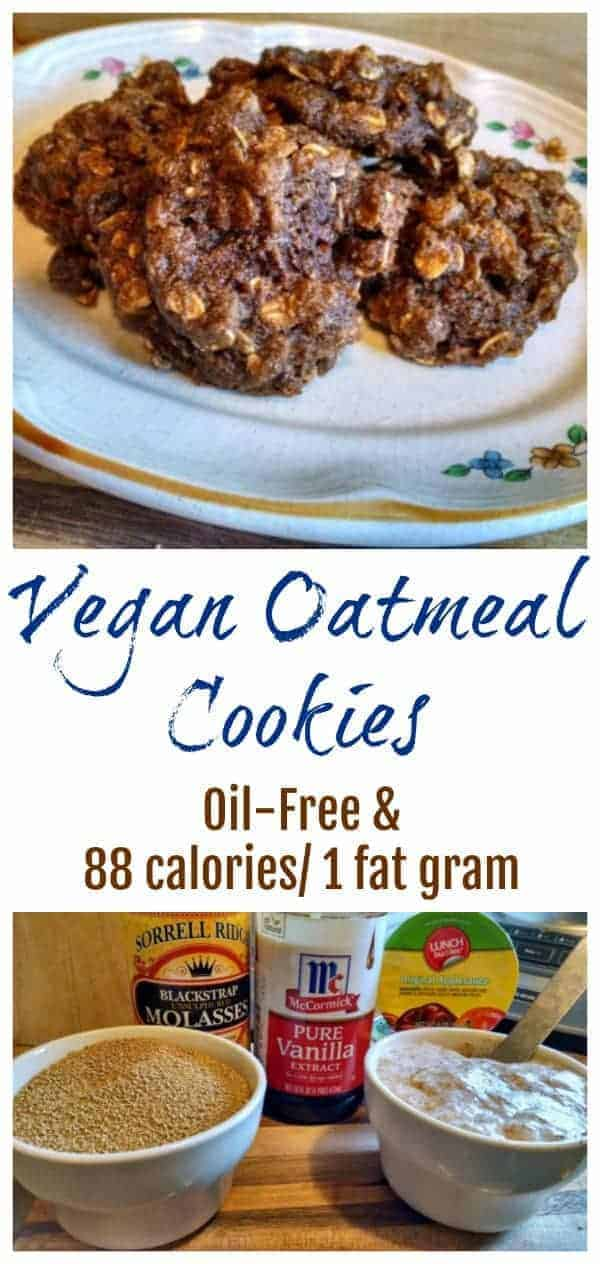 All the taste of Grandma's cookies, but none of the fat! These little vegan oatmeal raisin cookies are oil-free, dairy-free, and egg-free, with only 88 calories and 1 gram of fat per cookie!