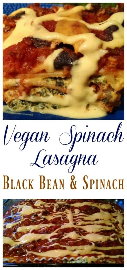 vegan spinach lasagna collage