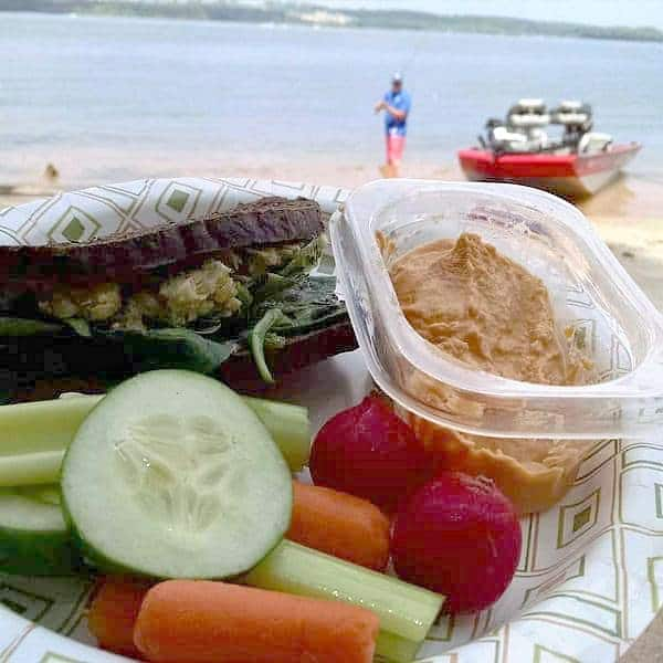 eating chickpea salad sandwiches at the lake