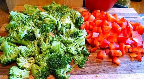 Diced broccoli veggies