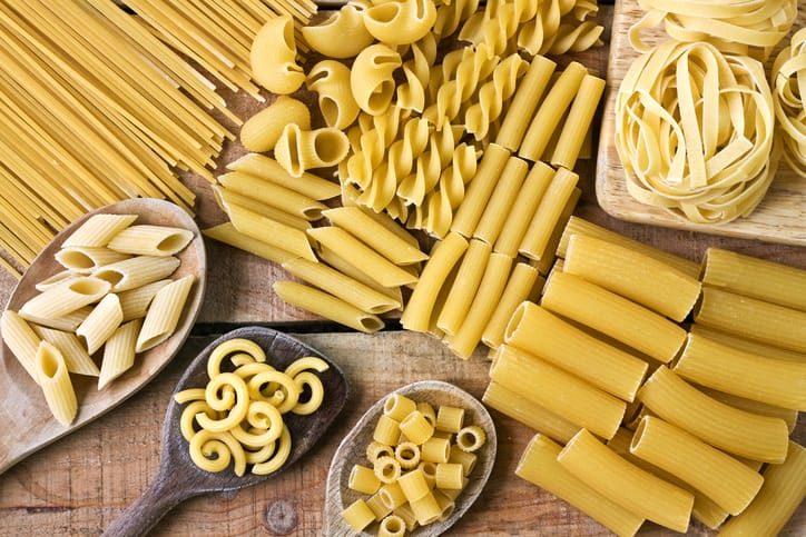 Whole grain pasta varieties.