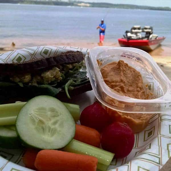Chickpea Vegan Salad and roasted red pepper hummus plant based picnic foods