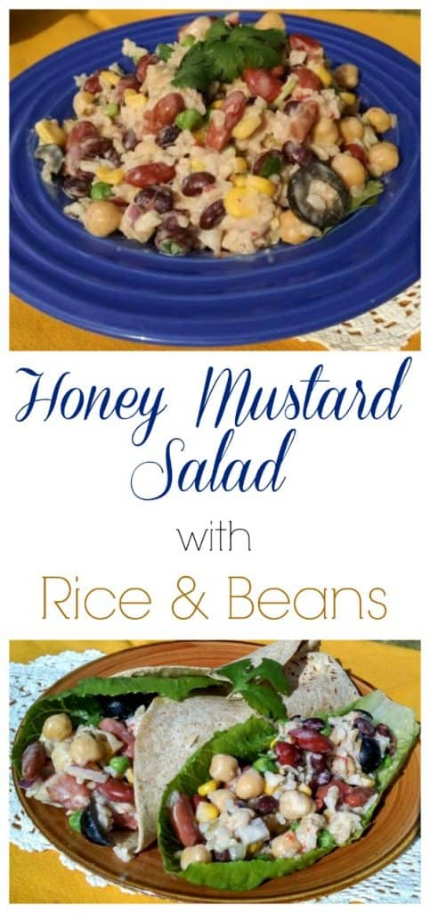 Vegan Honey Mustard Salad with rice and beans collage