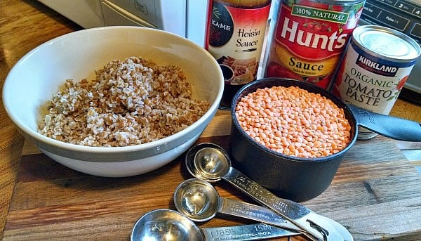 Lentil Sloppy Joes ingredients