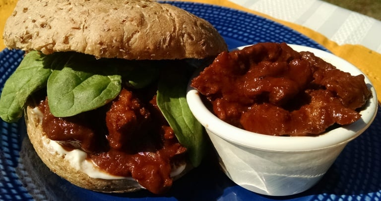 Vegan Seitan Barbecue Sandwich on plate