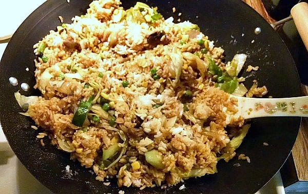 Vegan Stir Fried Rice in wok