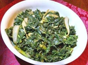 Braised Kale in bowl