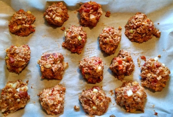 barbecue veggie balls on baking sheet ready to cook