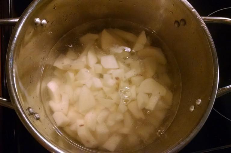 potatoes boiling in pot
