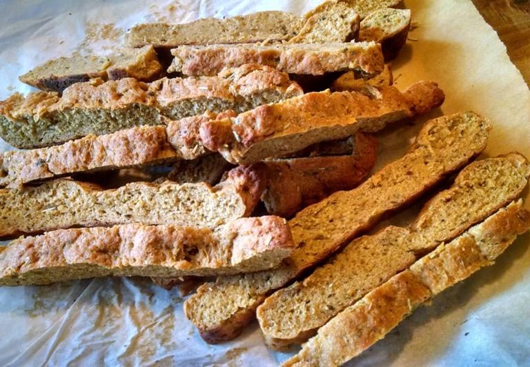 baked seitan cut into strips