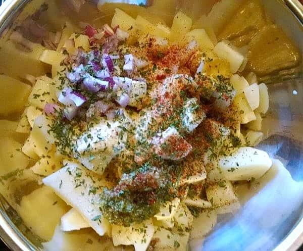 vegan potato salad ingredients in bowl