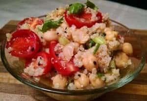 Chickpea Quinoa Salad with Orange Miso Dressing