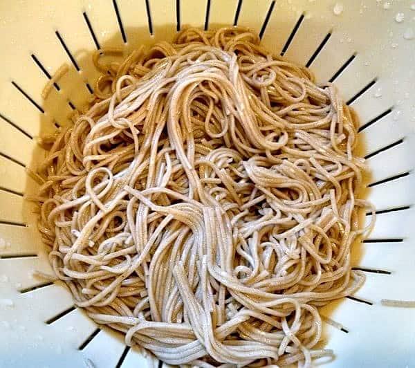 Ginger Noodles. soba cooked noodles