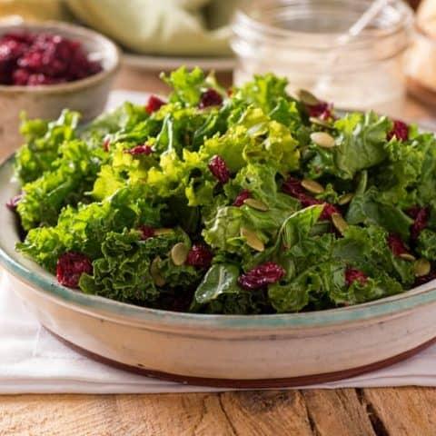 massaged kale salad in bowl