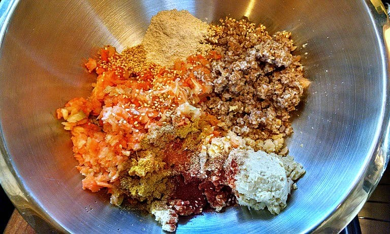 Chickpea burger ingredients in a bowl.