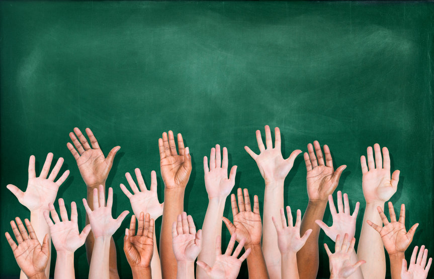 classroom hands raised