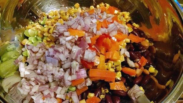 diced veggies in bowl