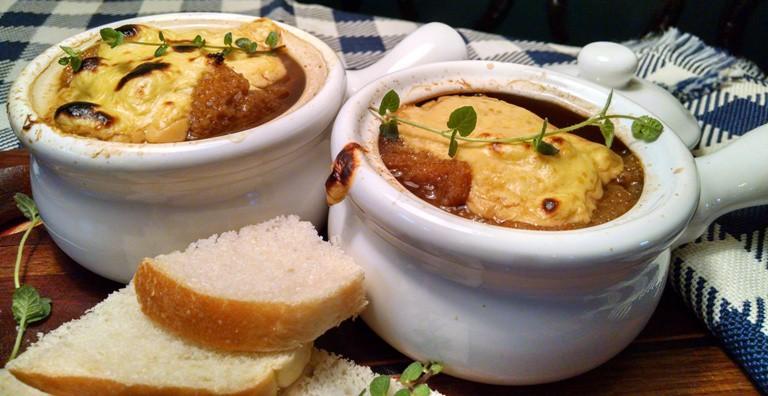 French Onion Soup topped with Cashew Mozzarella