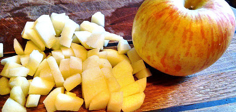 diced apples for apple sauce muffins