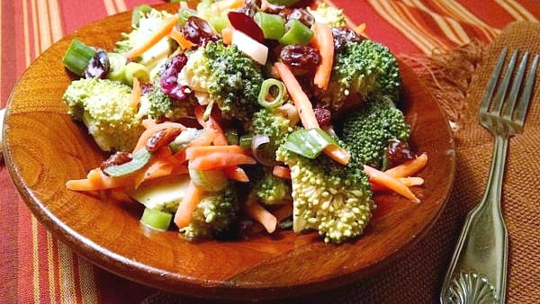 Vegan Broccoli Salad in wooden bowl