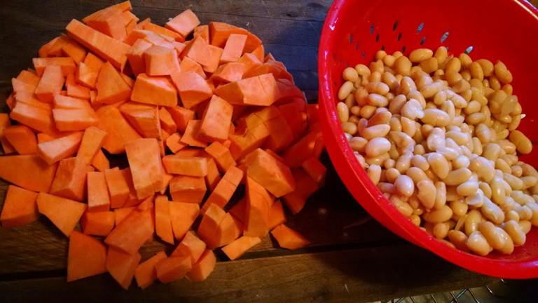 white bean soup recipe. chopped sweet potatoes and beans
