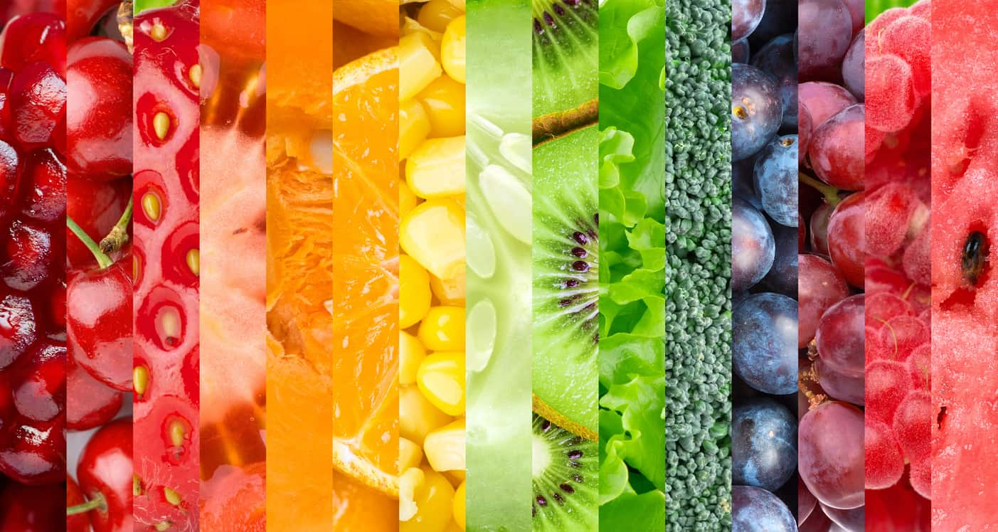 eat the rainbow. colorful fruit, veggies, and greens