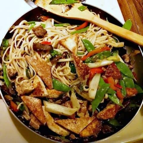 Udon Noodle Ginger Stir Fry with tofu in pan