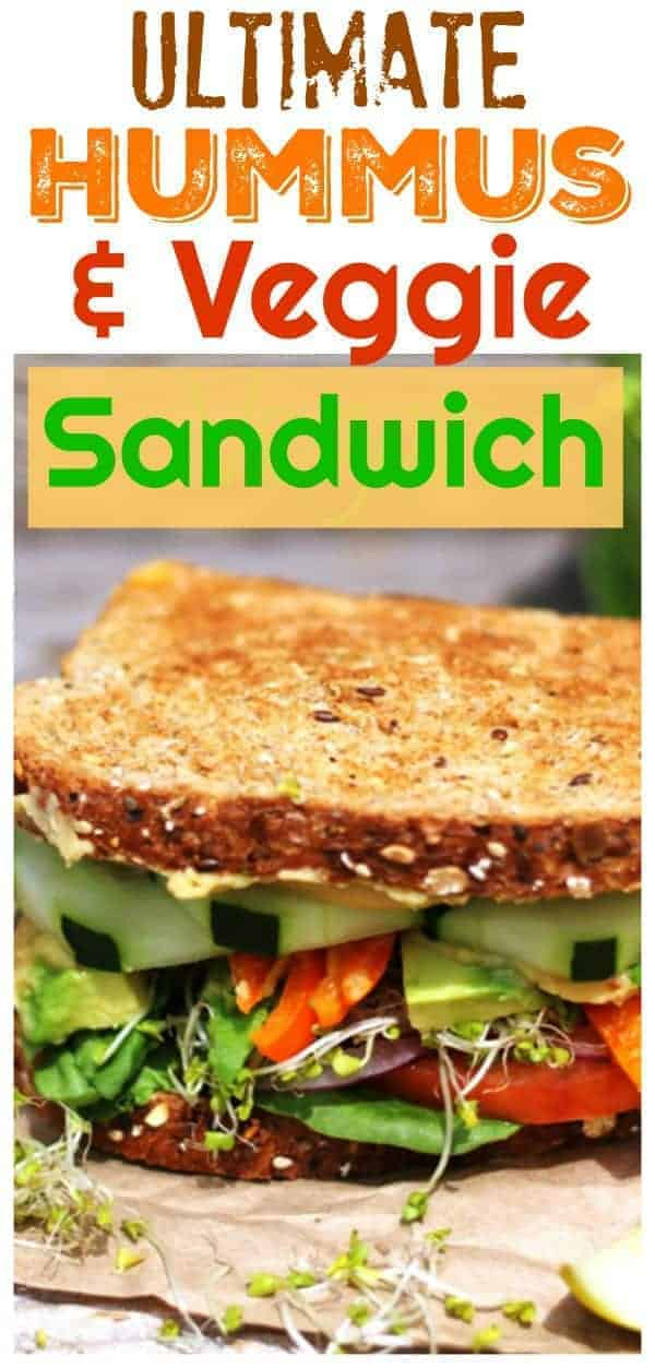 Tired of a boring sandwich? Let me help you fix that with this Ultimate Veggie & Hummus Sandwich that is piled high with crunchy vegetables and creamy hummus and can be ready in 15 minutes or less.