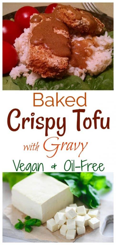 Baked Crispy Tofu with gravy