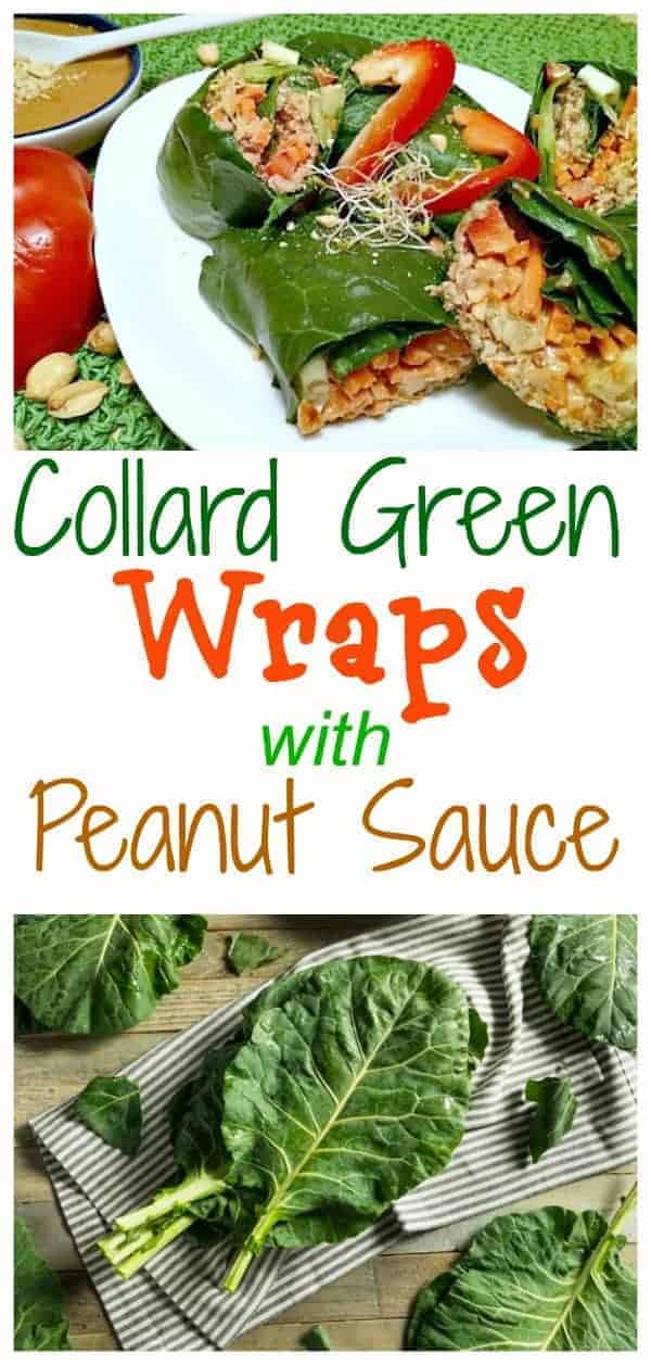 collard green wraps with peanuts