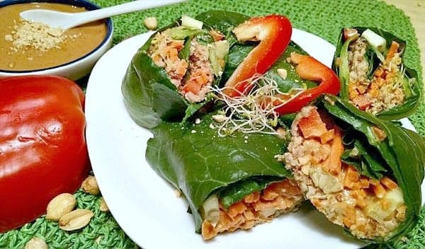 vegan peanut sauce with collard wraps