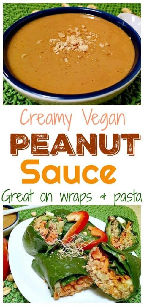 vegan creamy peanut sauce pinterest photo collage