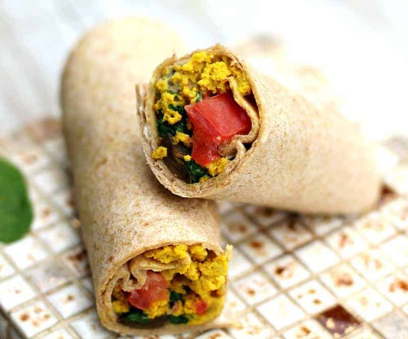breakfast burritos with tofu scramble