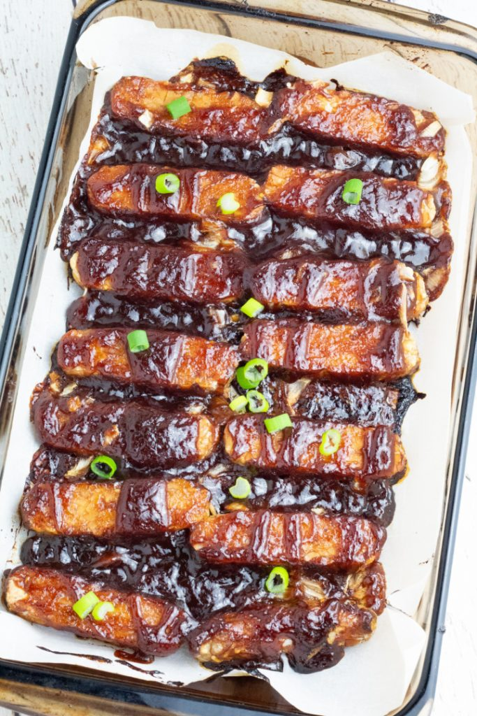 baked bbq tempeh in baking dish
