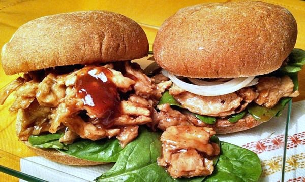 Vegan barbecue sandwiches with spinach