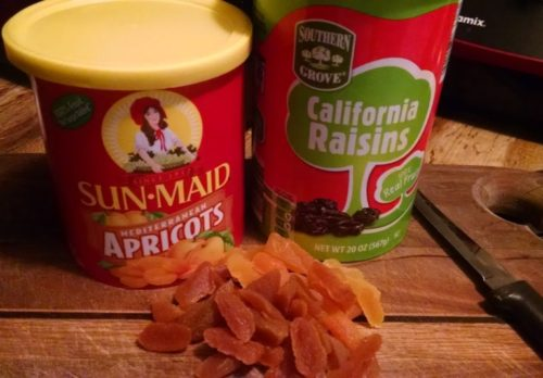 raisins and dried apricots