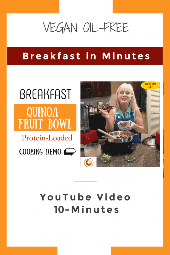 YouTube pin for quinoa breakfast bowl