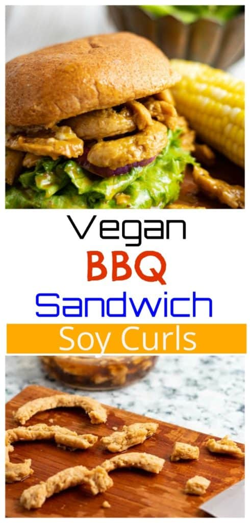 Soy Curl Sandwich on cutting board pinterest photo