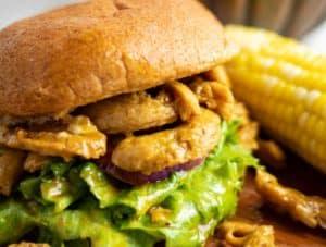 Vegan BBQ Soy Curl Sandwich on cutting board