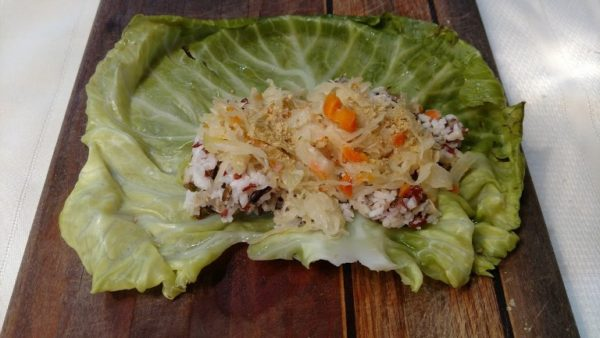 step 2 for stuffed cabbage rolls kraut in leaf